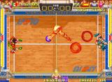 Windjammers Neo Geo Special shots tend to change directions all the time.