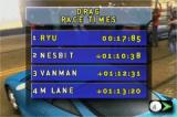 Need for Speed: Underground Game Boy Advance The best times are displayed after each race event completed.
