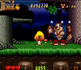 Speedy Gonzales in Los Gatos Bandidos SNES This boss have many muscles! However, he's no brain...