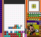 Magical Tetris Challenge Game Boy Color Clearing a line.