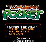 Top Gear Pocket Game Boy Color The simple menu screen gives you 4 standard options.