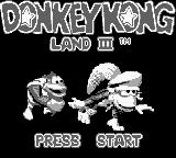 Donkey Kong Land III Game Boy Title screen.