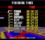 Street Racer SNES Finishing times for the race