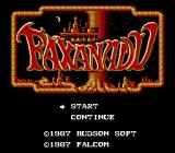 Faxanadu NES Japan Title screen