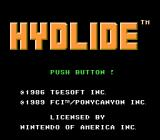 Hydlide NES Title screen