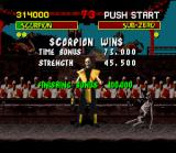 Mortal Kombat SNES Scorpion's specialty: morph the kombatants in skeletons.