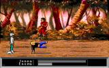 Jonny Quest: Curse of the Mayan Warriors DOS A combat scene: Karate Kid Jonny in action.