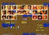 The King of Fighters '95 Neo Geo TEAM EDIT, the newness introduced in 1995: selecting NO, the player will choose predetermined teams. Choosing YES, you can create a customized team, with any 3 fighters. Excellent!