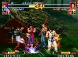 The King of Fighters '95 Neo Geo Iori performs the Darkness Sweep.