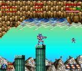 Super Turrican SNES Calculating the jump distance, this life can correctly be handle.