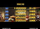 The King of Fighters '95 Neo Geo Ranking screen with your default scores.