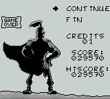Astérix Game Boy Game over