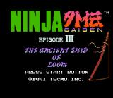 Ninja Gaiden Trilogy SNES Ninja Gaiden III title screen.