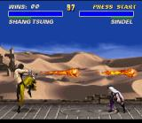 Ultimate Mortal Kombat 3 SNES Shang Tsung remains with your multiple fireballs move.