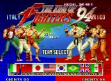 The King of Fighters '94 Neo Geo You can select from 8 available teams, all with varied fighting styles.