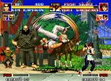 The King of Fighters '94 Neo Geo Yuri avoids Kim's Hi En Zan.