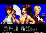 The King of Fighters '94 Neo Geo After a tough battle, you will see the victory screen. Pay attention to the artwork: did you notice that the fighters seem to have aged? It's true!