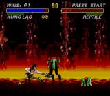 Ultimate Mortal Kombat 3 SNES Kung Lao's hat has the precision of a knife and the speed of... You choose!