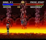Ultimate Mortal Kombat 3 SNES Going to the lava pool, Night guy?