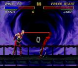 Ultimate Mortal Kombat 3 SNES Kano shoots a laser ray of its left eye that reaches Jade in target!