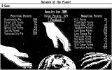 Balance of the Planet DOS The main screen shows your points for the major environmental topics.