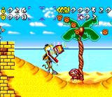 Chester Cheetah: Wild Wild Quest SNES Cheetah eats cheetahs on a beach