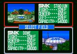 Baseball Stars Professional Neo Geo Select stadium. You can either play at the SNK stadium or SNK dome