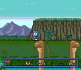 Doraemon 3: Nobita to Toki no Hōgyoku SNES Brontosaurs' heads make excellent transportation means when crossing a river