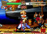Samurai Shodown II Neo Geo When you are in sword conflict, press quickly the A Button more than your adversary! And see who will be unarmed first: you, the opponent or both!