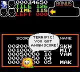 Skweek Game Gear High score table
