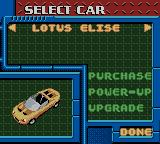 Test Drive 2001 Game Boy Color Select a car