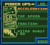 Test Drive 2001 Game Boy Color Power Ups Menu