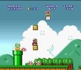 Super Mario All-Stars + Super Mario World SNES While Lakitu is throwing many Spinys, you can stay down and wait the turbulence finish.