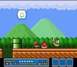 Super Mario All-Stars SNES In World 4 of Super Mario Bros. 3, you'll see that in some stages, the objects and enemies are bigger than normal! Very cool...