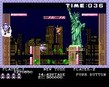 Buster Bros. Amiga New York - using ladder to surpass obstacles