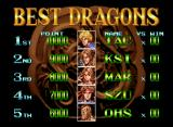 "Double Dragon Neo Geo Rankings ""Best Dragons"" screen with default scores."