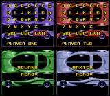 Top Gear 3000 SNES VS Mode screen: the CPU players have already chosen their names. The human players are a bit slower