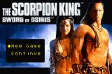 The Scorpion King: Sword of Osiris Game Boy Advance Title screen and main menu.