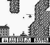 Choplifter II: Rescue Survive Game Boy Maneuvering through a narrow cave.