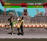 "Mortal Kombat SNES Sonya kicks Scorpion's face, removing some ""sweat""."