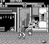Street Fighter II Game Boy Ken Masters performing a flaming Shoryuken.