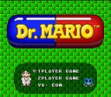Tetris & Dr. Mario SNES Dr. Mario title screen with the main menu.