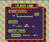 Tetris & Dr. Mario SNES 1-Player Game setup screen: change the virus level, fall speed and your favorite music.