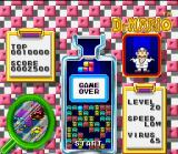 Tetris & Dr. Mario SNES Due to the big virus number, the capsule stack crossed the screen top. Game Over...