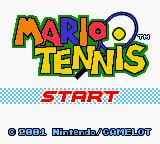Mario Tennis Game Boy Color Title screen.
