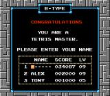 Tetris NES Entering your name in Tetris B-TYPE records screen: what's yours?