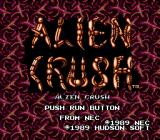 Alien Crush TurboGrafx-16 Title Screen