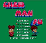 Chew Man Fu TurboGrafx-16 Menu screen