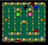 Chew Man Fu TurboGrafx-16 Level 1 - notice that the red and green can be mvoed out of the way first