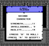 Swords and Serpents NES Rolling stats for a character